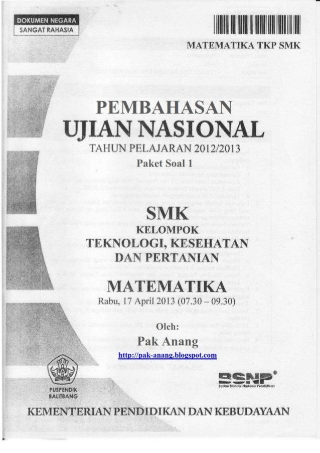 Pembahasan Soal Un Matematika Smk Tkp 2013 Paket1