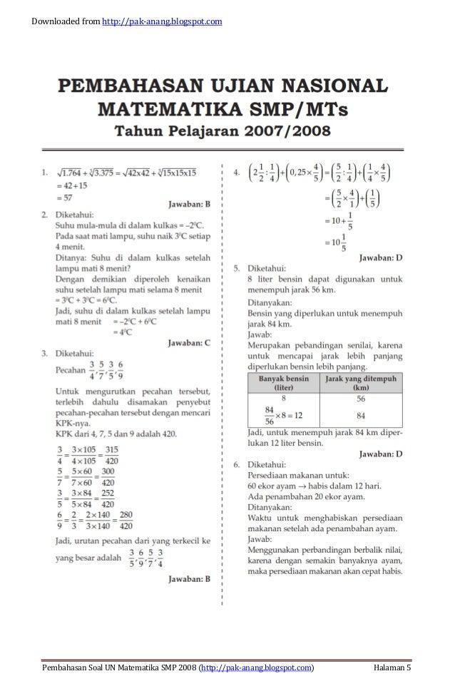 Soal Un Matematika Smp Tahun Dan Pembahasannya Download Lengkap