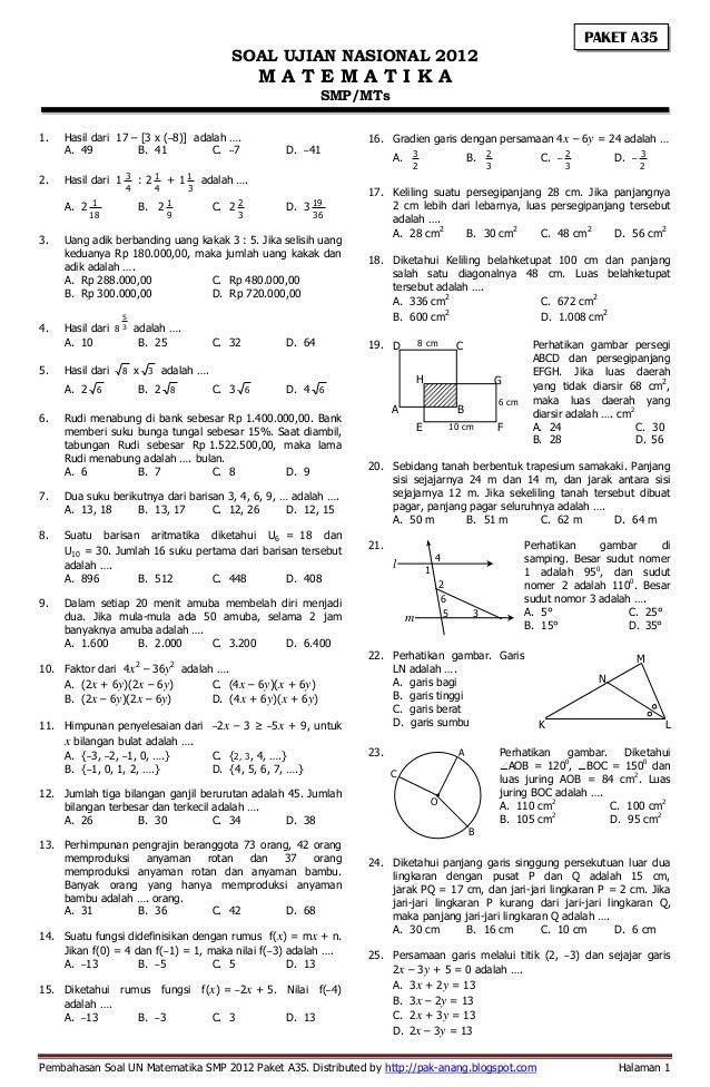 Pembahasan soal un matematika smp 2012 paket a35, b47, c61 ...