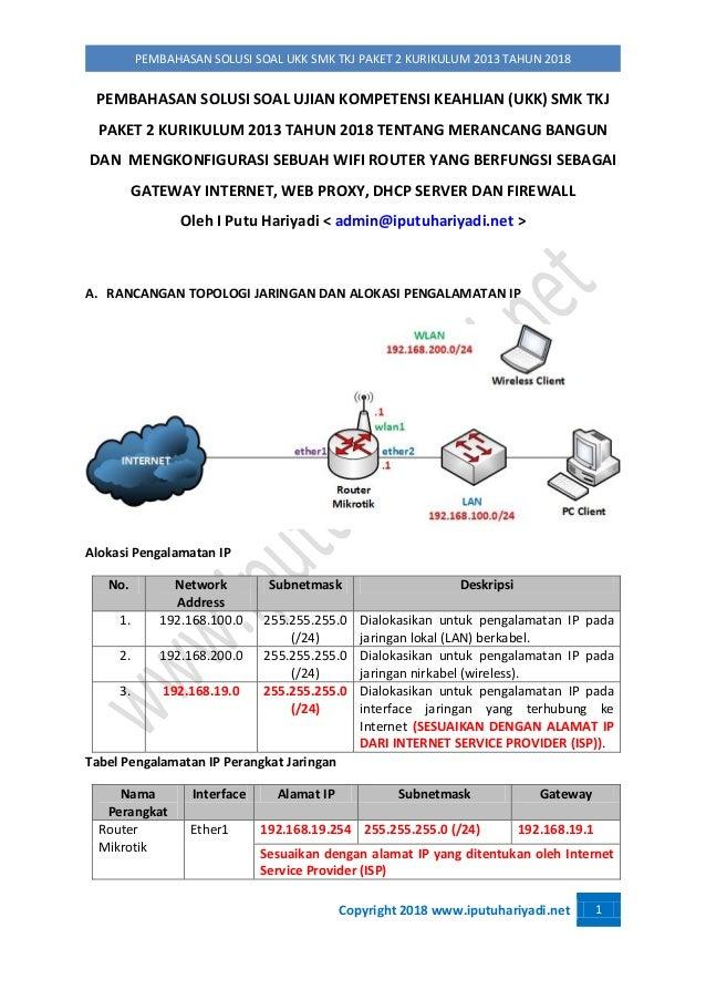 Copyright 2018 www.iputuhariyadi.net 1 PEMBAHASAN SOLUSI SOAL UKK SMK TKJ PAKET 2 KURIKULUM 2013 TAHUN 2018 PEMBAHASAN SOL...