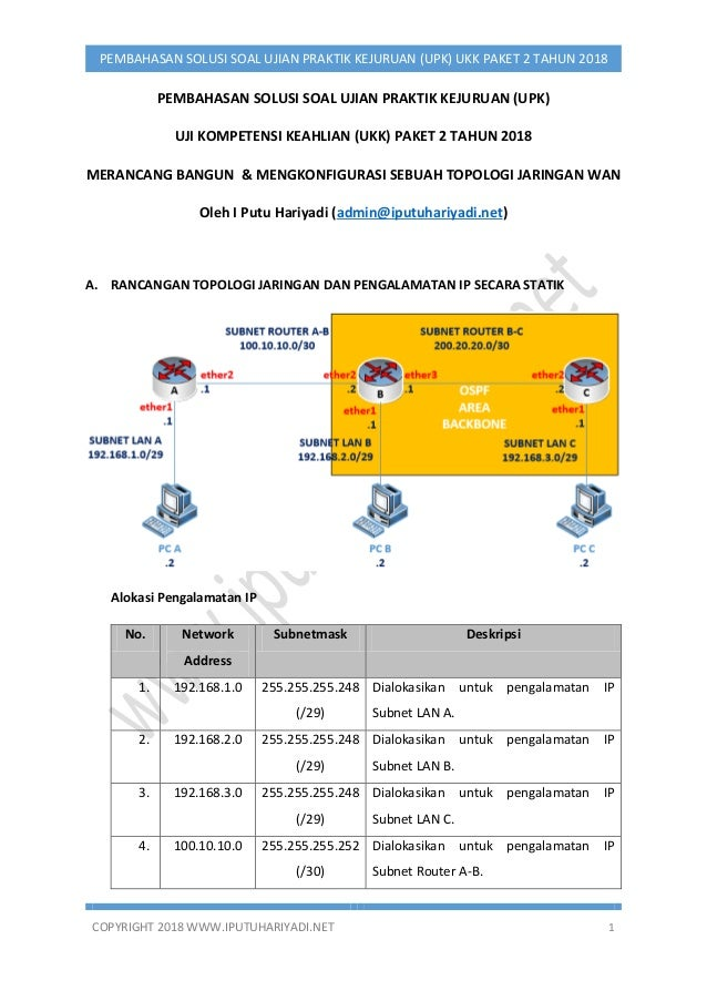 COPYRIGHT 2018 WWW.IPUTUHARIYADI.NET 1 PEMBAHASAN SOLUSI SOAL UJIAN PRAKTIK KEJURUAN (UPK) UKK PAKET 2 TAHUN 2018 PEMBAHAS...