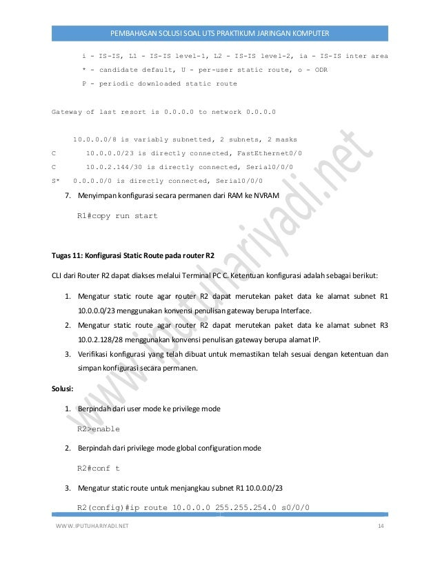 WWW.IPUTUHARIYADI.NET 14 PEMBAHASAN SOLUSI SOAL UTS PRAKTIKUM JARINGAN KOMPUTER i - IS-IS, L1 - IS-IS level-1, L2 - IS-IS ...