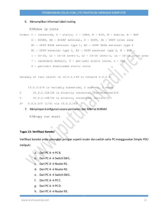 WWW.IPUTUHARIYADI.NET 17 PEMBAHASAN SOLUSI SOAL UTS PRAKTIKUM JARINGAN KOMPUTER 6. Menampilkan informasi tabel routing R3#...