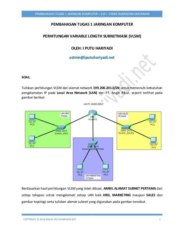 COPYRIGHT © 2018 WWW.IPUTUHARIYADI.NET 1 PEMBAHASAN TUGAS 1 JARINGAN KOMPUTER – S1TI - STMIK BUMIGORA MATARAM PEMBAHASAN T...