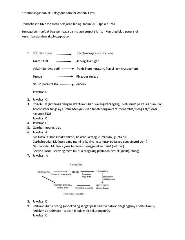 Pembahasan Un Sma Mata Pelajaran Biologi Tahun 2012 Paket