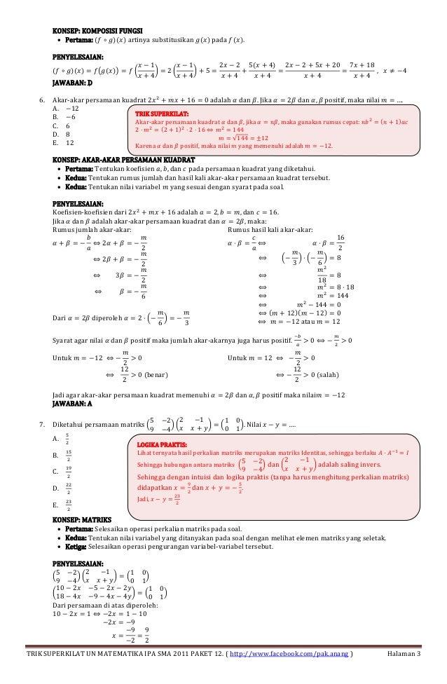 Pembahasan Un Matematika Sma 2011 Paket 12 Plus Trik