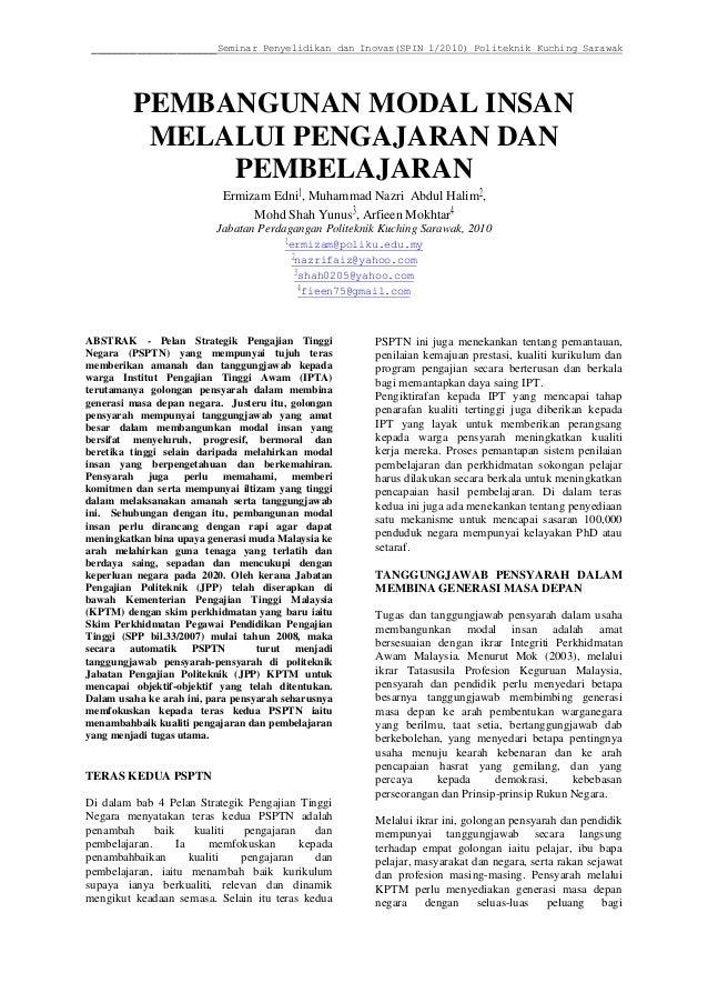 ______________________Seminar Penyelidikan dan Inovas(SPIN 1/2010) Politeknik Kuching Sarawak  PEMBANGUNAN MODAL INSAN  ME...