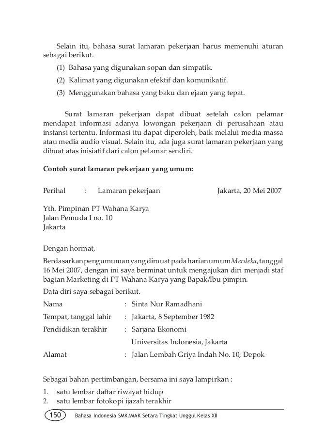Contoh Surat Lamaran Inisiatif Sendiri Karintoh