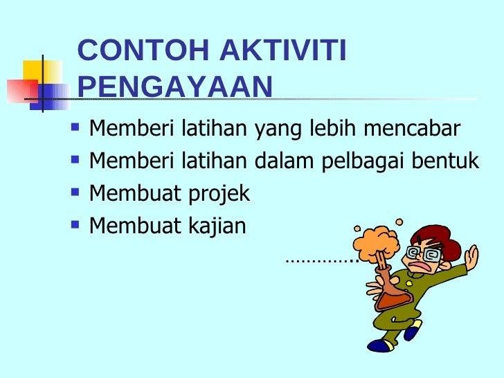 <ul><li>Memberi latihan yang lebih mencabar </li></ul><ul><li>Memberi latihan dalam pelbagai bentuk </li></ul><ul><li>Memb...