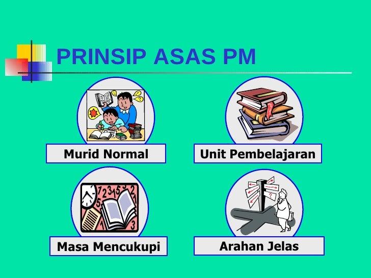 PRINSIP ASAS PM Murid Normal Masa Mencukupi Arahan Jelas Unit Pembelajaran