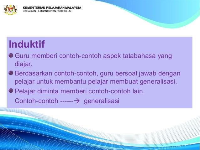 KEMENTERIAN PELAJARAN MALAYSIA   BAHAGIAN PEMBANGUNAN KURIKULUMInduktif Guru memberi contoh-contoh aspek tatabahasa yang d...