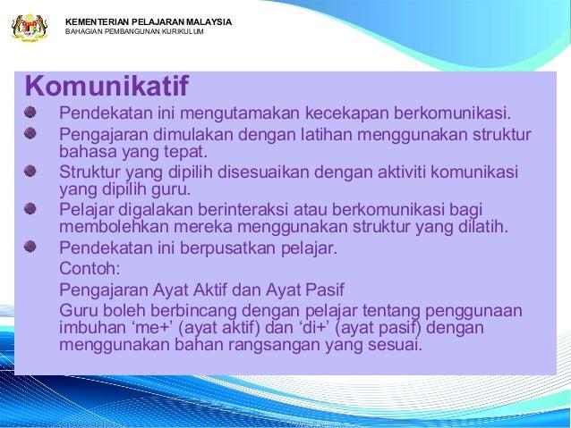 KEMENTERIAN PELAJARAN MALAYSIA  BAHAGIAN PEMBANGUNAN KURIKULUMKomunikatif  Pendekatan ini mengutamakan kecekapan berkomuni...