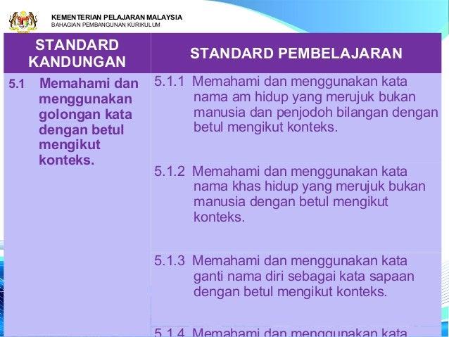 KEMENTERIAN PELAJARAN MALAYSIA        BAHAGIAN PEMBANGUNAN KURIKULUM       STANDARD                                       ...
