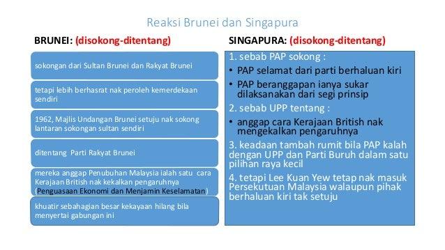 cara pembentukan malaysia Bagaimanapun, pada bulan mei 1961, britain dan tanah melayu telah mencadangkan sebuah persekutuan malaysia, yang mana dari perspektif keselamatan, orang-orang melayu sebagai kaum yang rapuh akan terus berkuasa dengan cara mewujudkan keseimbangan antara orang cina di singapura dengan kaum-kaum yang berbeza di borneo.