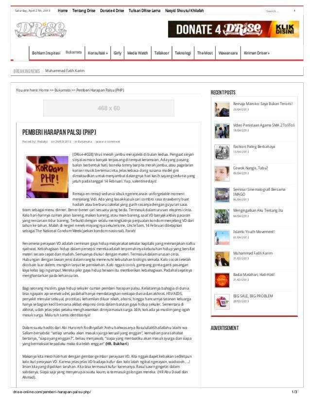 drise-online.com/pemberi-harapan-palsu-php/ 1/3Saturday, April 27th, 2013 Search...HomeHome Tentang DriseTentang Drise Don...