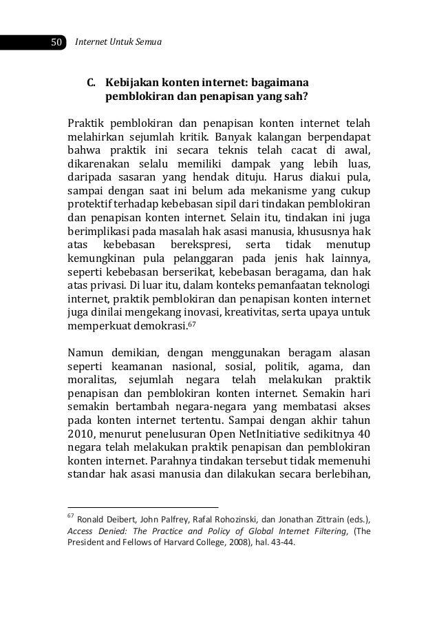 C. Kebijakan konten internet: bagaimana pemblokiran dan penapisan yang sah? Praktik pemblokiran dan penapisan konten inter...