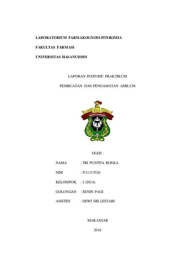 LABORATORIUM FARMAKOGNOSI-FITOKIMIA FAKULTAS FARMASI UNIVERSITAS HASANUDDIN LAPORAN INDIVIDU PRAKTIKUM PEMBUATAN DAN PENGA...