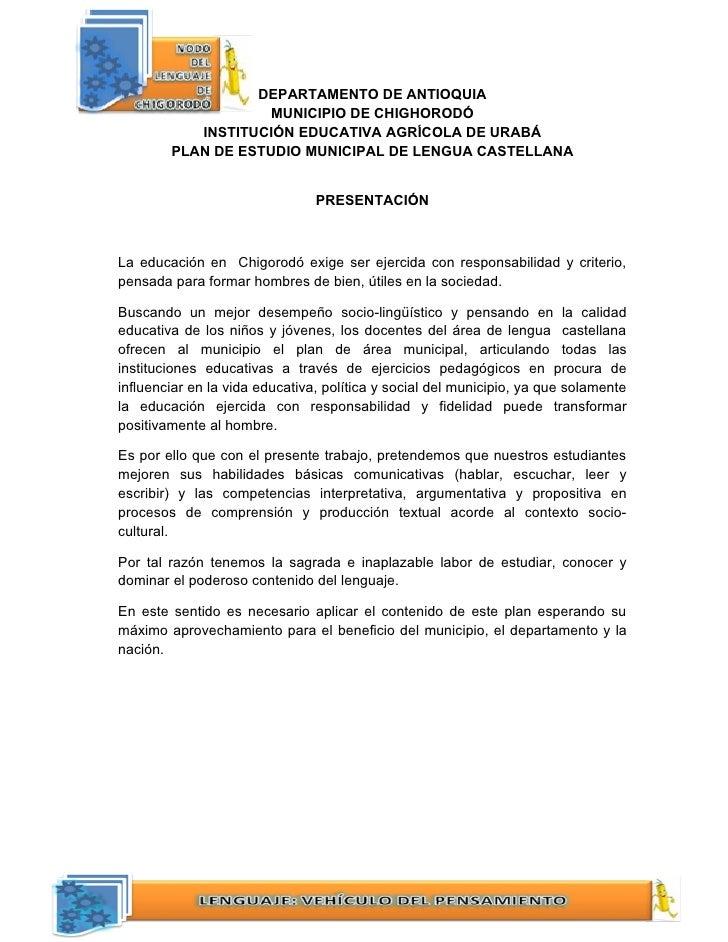 DEPARTAMENTO DE ANTIOQUIA                     MUNICIPIO DE CHIGHORODÓ            INSTITUCIÓN EDUCATIVA AGRÍCOLA DE URABÁ  ...