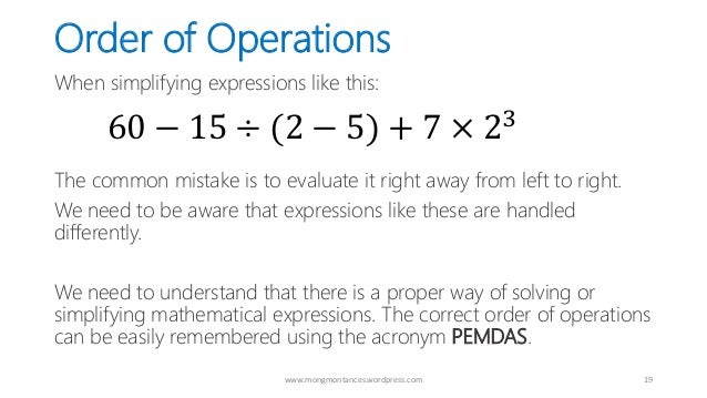 PEMDAS - The Proper Order of Mathematical Operations