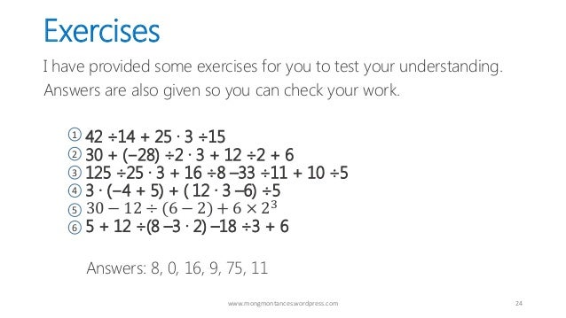 pemdas exercises with answers pdf