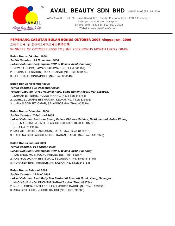AVAIL BEAUTY SDN BHD                                        (599827-W) (AJL 931505)                             WISMA AVAI...