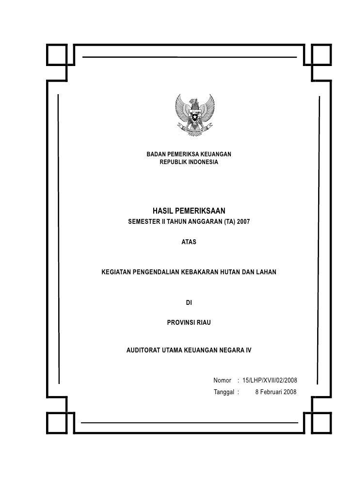 BADAN PEMERIKSA KEUANGAN               REPUBLIK INDONESIA              HASIL PEMERIKSAAN       SEMESTER II TAHUN ANGGARAN ...