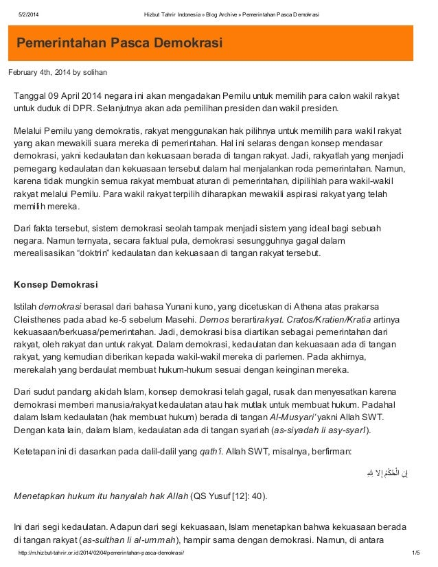 5/2/2014  Hizbut Tahrir Indonesia » Blog Archive » Pemerintahan Pasca Demokrasi  Pemerintahan Pasca Demokrasi February 4th...