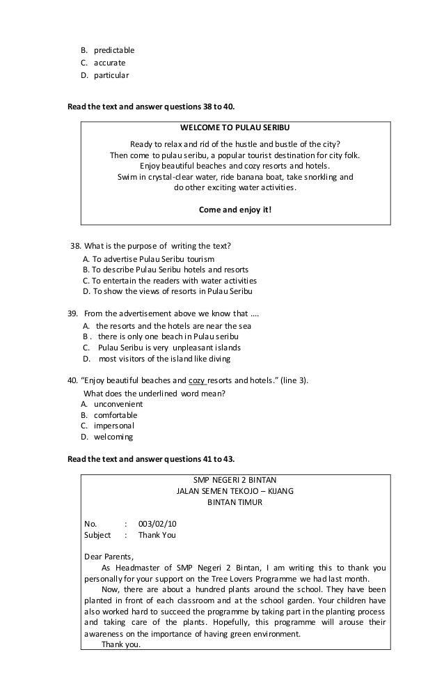 Latihan Soal Un Bahasa Inggris Smp