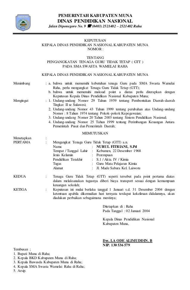 PEMERINTAH KABUPATEN MUNA DINAS PENDIDIKAN NASIONAL Jalan Diponegoro No. 9  (0403) 2521402 – 2521402 Raha KEPUTUSAN KEPAL...