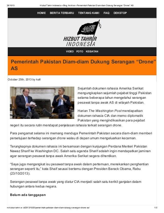 """26/10/13  Hizbut Tahrir Indonesia » Blog Archive » Pemerintah Pakistan Diam-diam Dukung Serangan """"Drone"""" AS  HOME  BERITA ..."""