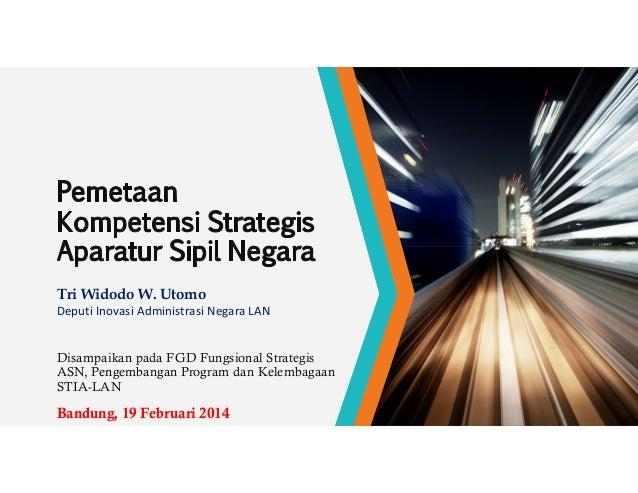 Tri Widodo W. Utomo Deputi Inovasi Administrasi Negara LAN  Disampaikan pada FGD Fungsional Strategis ASN, Pengembangan Pr...