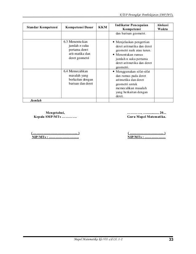 Perangkat Pembelajaran Smp Ktsp Perangkat Ktsp Rpp Silabus Kkm Program Tahunan Dan