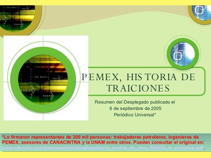 PEMEX, HISTORIA DE TRAICIONES Resumen del Desplegado publicado el 6 de septiembre de 2005 Periódico Universal* *Lo firmaro...