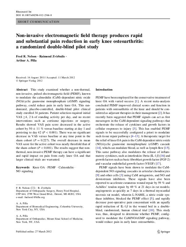 SHORT COMMUNICATION Non-invasive electromagnetic field therapy produces rapid and substantial pain reduction in early knee ...