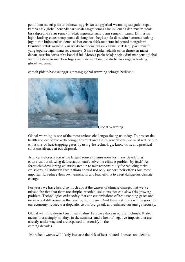pemilihan materi pidato bahasa inggris tentang global warming sangatlah tepatkarena efek global benar-benar sudah sangat t...
