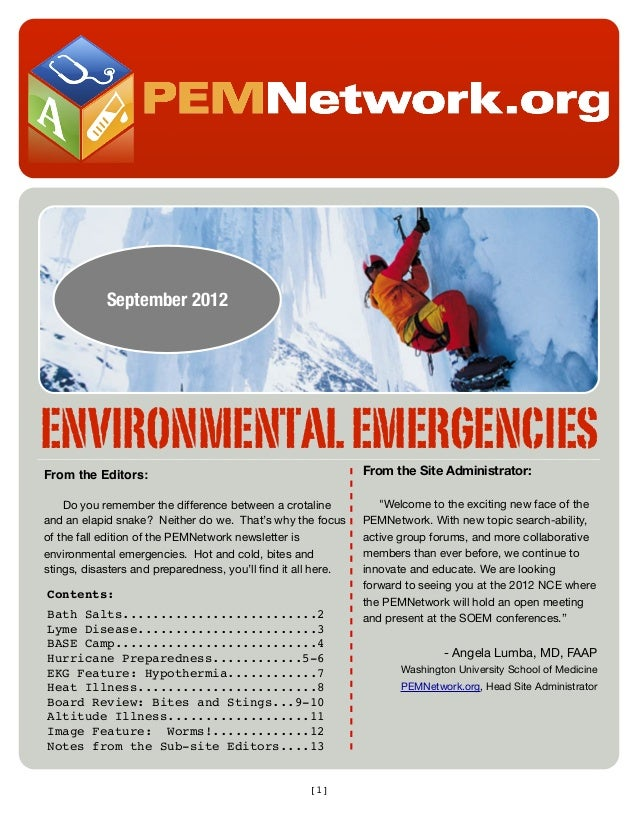 September 2012  ENVIRONMENTAL EMERGENCIES From the Editors:  From the Site Administrator:  Do you remember the difference ...