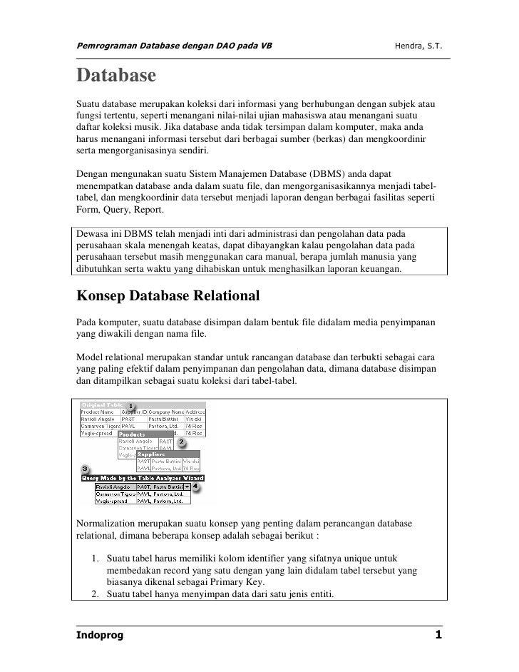 Pemrograman Database dengan DAO pada VB                                      Hendra, S.T.DatabaseSuatu database merupakan ...