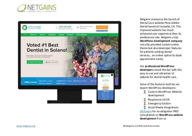 www.netgains.org @Netgains Confidential Documents Netgains announce the launch of Dental Care website Pena Adobe Dental ba...