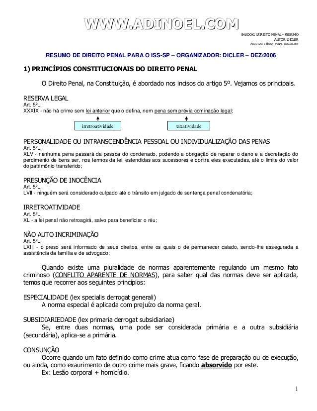 WWWWWWWWW...AAADDDIIINNNOOOEEELLL...CCCOOOMMM E-BOOK: DIREITO PENAL - RESUMO AUTOR:DICLER ARQUIVO: E-BOOK_PENAL_DICLER.PDF...