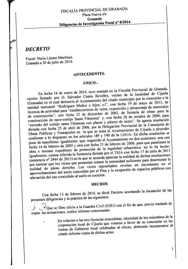 """FlSCALÍA PROVINCIAL DE GRANADA Plaza Nueva s/ n Granada  Diligencias de Investigación Penal n"""" 8/2014  ido""""  l  DECRE T0  ..."""