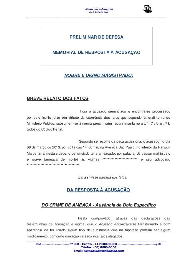 Penal Defesa Preliminar