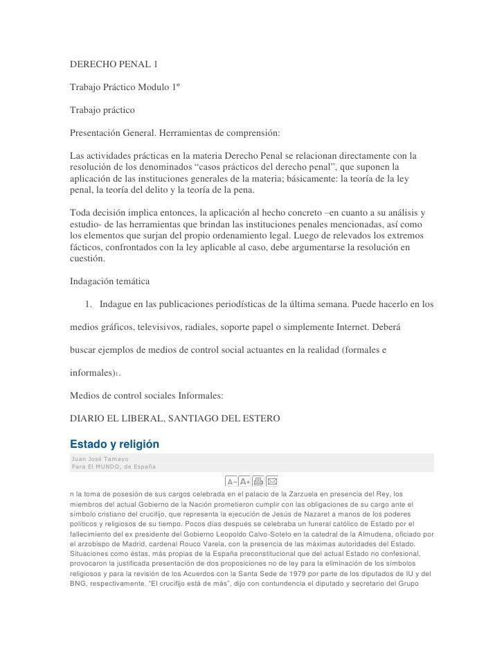 DERECHO PENAL 1<br />Trabajo Práctico Modulo 1º<br />Trabajo práctico<br />Presentación General. Herramientas de comprensi...