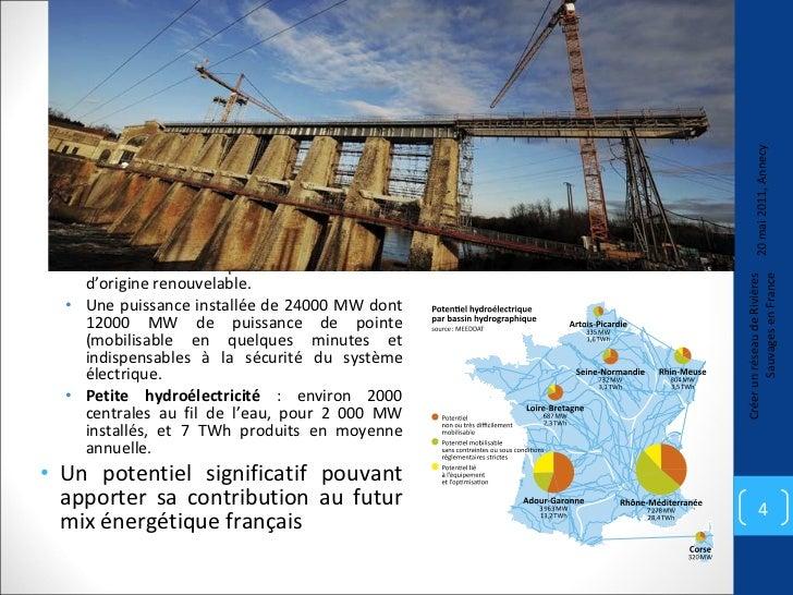 Ce que représente l'hydroélectricité en France <ul><ul><li>La production annuelle est de 67 TWh (ou millions de MWh), ce q...