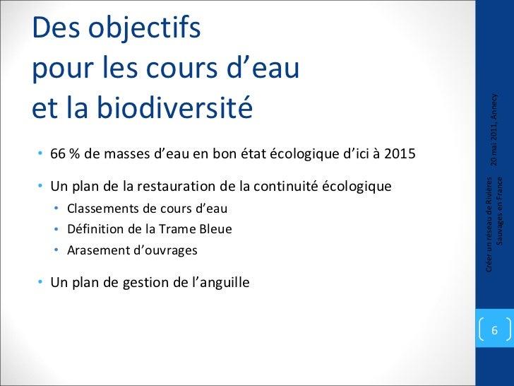 Des objectifs  pour les cours d'eau  et la biodiversité <ul><li>66 % de masses d'eau en bon état écologique d'ici à 2015 <...