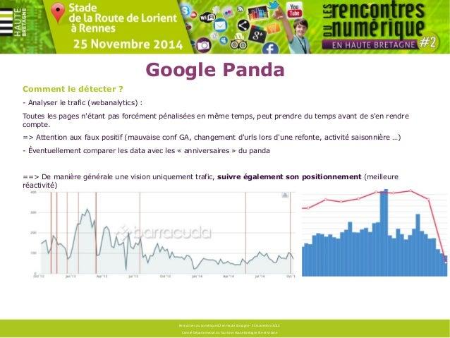 Google Panda  Agir :  Optimisations techniques  - Optimiser le passage du robot (crawl)  - Limiter le contenu dupliqué int...