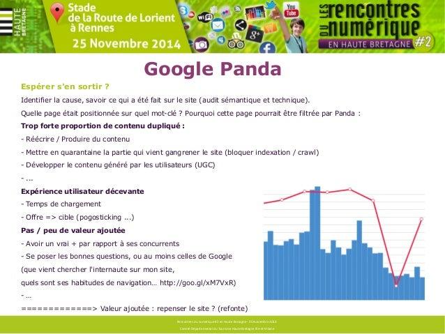 Google Penguin  Concrètement :  Typologie des backlinks :  Diversité des ancre de liens, Ratio mots-clés / marque, Réparti...