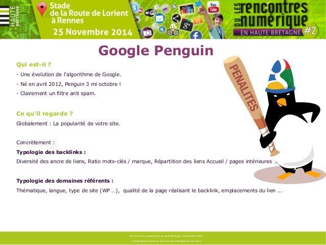 Google Penguin  Rencontres du numérique #2 en Haute Bretagne - 25 Novembre 2013  Comité Départemental du Tourisme Haute Br...