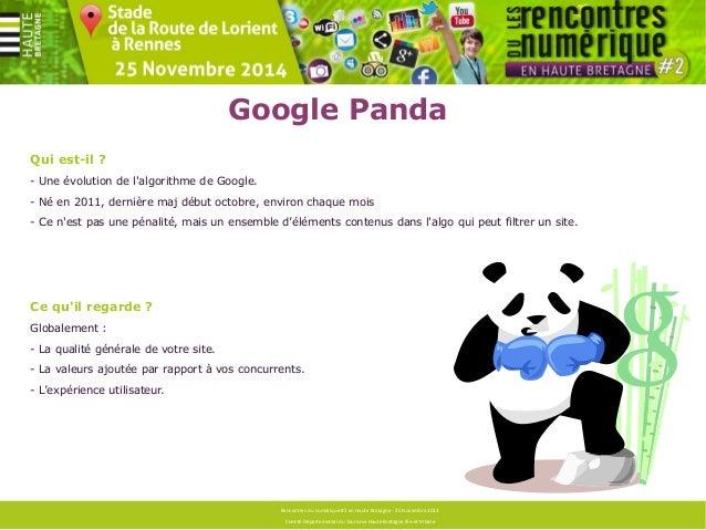 Google Panda  Ce qu'il regarde ?  Concrètement :  Des éléments techniques :  - temps de chargement  - erreurs 404  - balis...