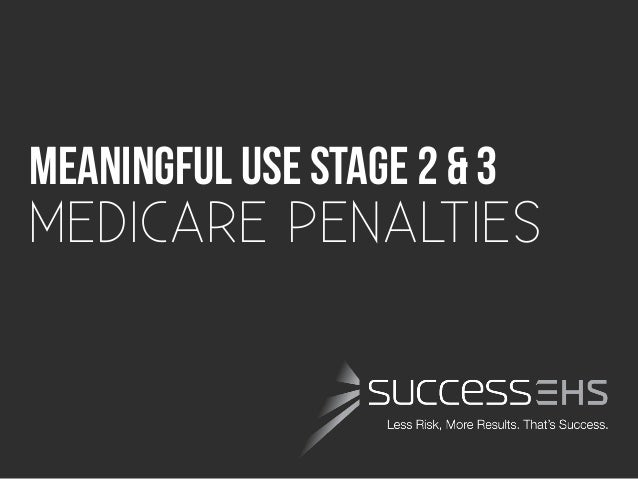 Meaningful USE Stage 2 & 3 	  MEDICARE PENALTIES