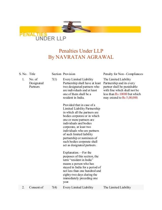 Penalties Under LLP By NAVRATAN AGRAWAL S. No. Title Section Provision Penalty for Non - Compliances 1. No. of Designated ...